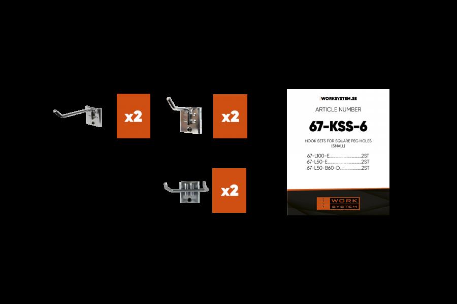 De Hakenset S afgebeeld met de 6 onderdelen.