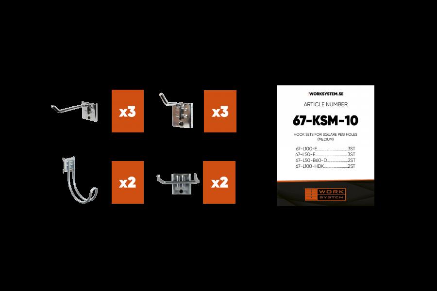 De Hakenset M afgebeeld met de 10 onderdelen.