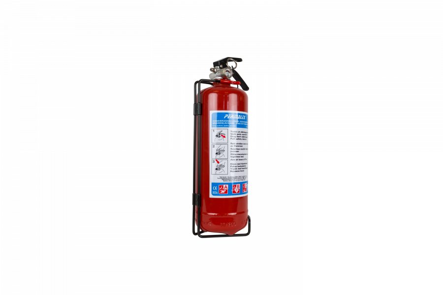 Brandsläckare 2kg pulver ABC godkänd med fordonsfäste.