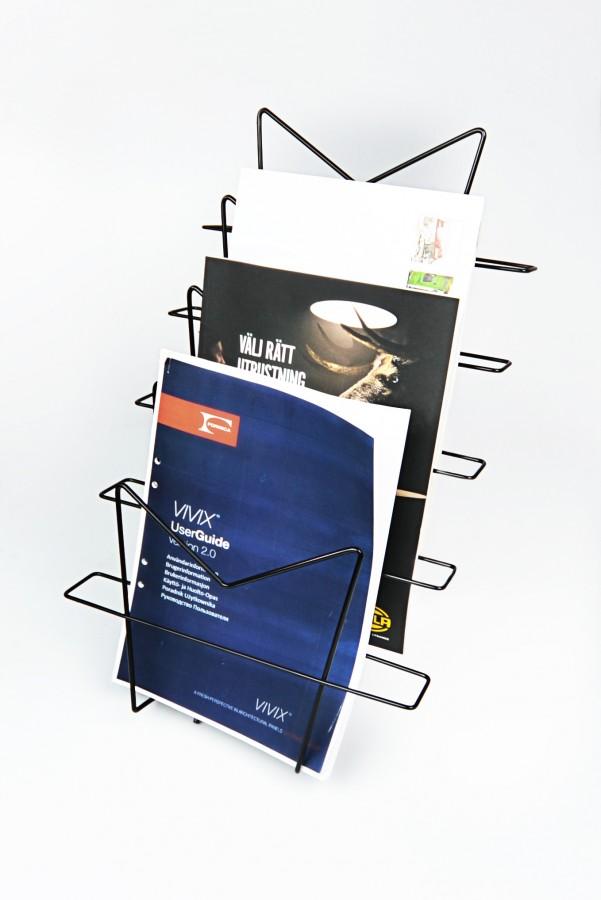 De documentenhouder afgebeeld met papieren en brochures.