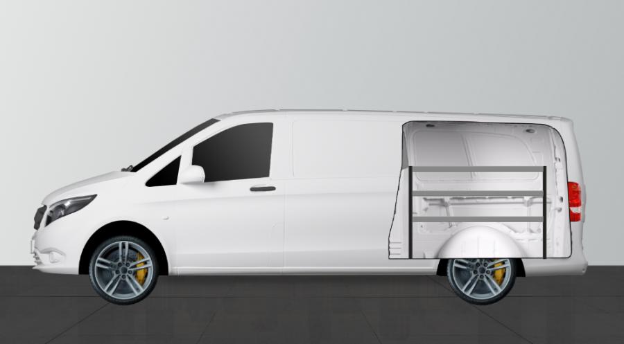 H-Bas Bedrijfswageninrichting Vito Mixto Extra Lang   Work System